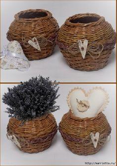 Плетение из газет. Мастер-классы по плетению корзинок и вазочек (40) (459x652, 186Kb) Paper Basket Weaving, Lavender Soap, Rubrics, Wicker Baskets, Hampers, Purple, Ideas, Places, Design