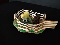 Just by using cardboard and wooden & ice-cream sticks make a lovely sheep pen. School Project or Craft idea : House of animals – Sheep Pen Other names: In Ma. Sheep House, School Projects, Diy Projects, Sheep Pen, Project Yourself, Make It Yourself, Janmashtami Decoration, Godly Play, Animal House