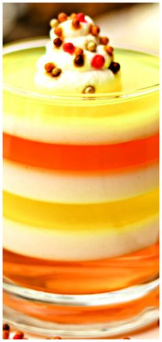 These Candy Corn JELL-O Cups are a fall treat your whole family will love! They're perfect for a Halloween party, a fun dessert, or to serve Fall Treats, Halloween Treats, Halloween Party, Thanksgiving Recipes, Fall Recipes, Holiday Recipes, Best Dessert Recipes, Sweet Desserts, Jello Cups