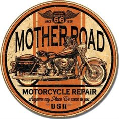 Mother Road Motorcycle Repair Round Distressed Retro Vintage Tin Sign by Poster Revolution, http://www.amazon.com/dp/B0049BEI2M/ref=cm_sw_r_pi_dp_jTecrb057V07S