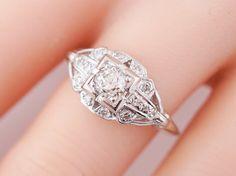 Antique Engagement Ring Art Deco .36ct Old European Cut Diamond in Platinum. Minneapolis, MN.