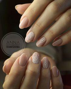 french nails with gold New Years Gelish Nails, Nude Nails, My Nails, Acrylic Nails, Round Nails, Oval Nails, Henna Nails, Mandala Nails, Nagellack Design