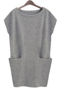 Light Grey Plain Pockets Mini Dress   perfect for everyday