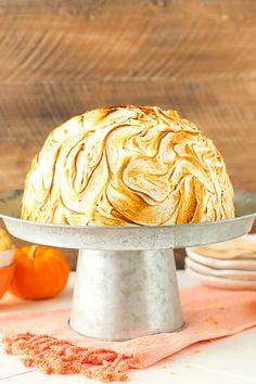 No Bake Pumpkin Spice Baked Alaska - no churn pumpkin spice ice cream ...