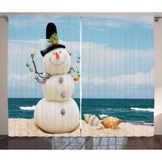Snowman Curtains 2 Panels Set, Winter Vacation Holiday Theme Snowman with Seashells Sitting on Sandy Beach Coastal, Window Drapes for Living Room Bedroom, 108W X 63L Inches, Multicolor, by Ambesonne #beachthemedweddings