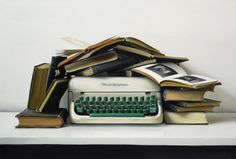 contemporary realist painter christopher stott #vintage #stilllife #typewriters #books
