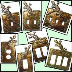 Rocker Switch Plate Covers, Gecko, Iridescent Metal Switchplate, Switchplate Covers, Light Switch Co Decorative Light Switch Covers, Switch Plate Covers, Light Switch Plates, Hanging Wall Art, Metal Wall Art, Drums Art, Haitian Art, Steel Drum, Metal Candle Holders