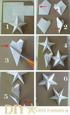 Côté Passion Star with a Square: DIY paper star, origami Diy And Crafts, Christmas Crafts, Christmas Ornaments, Christmas Origami, Paper Ornaments, Handmade Crafts, Halloween Crafts, Diy Christmas Star, Grinch Christmas