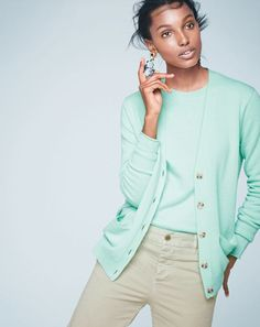 J.Crew women's Collection cashmere boyfriend cardigan, Collection cashmere long-sleeve T-shirt, broken-in boyfriend chino and sequin and crystal rose earrings.