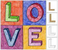 Draw letters · Art Projects for Kids : Gallery · Art Projects for Kids Learn how to draw letters, just like the artist Robert Indiana, then color them with shadows for some extra dimension. Art Lessons For Kids, Art Lessons Elementary, Pop Art For Kids, Kid Art, Indiana, Valentines Art Lessons, Valentines Art For Kids, Valentine Ideas, Valentine Love Cards