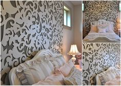 laser cut out used as a headboard in a girls room.