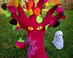 Spooky Halloween Plush Tree with Spider Web and Spider, Jack-O-Lantern and Ghost. Girly Halloween Tree, Home Decor or Toy