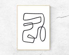Abstract Line No. 7 One Line Drawing Printable Wall Art Abstract Line Art, Abstract Shapes, Art Actuel, Br House, Modern Art Prints, Minimalist Art, Designs To Draw, Line Drawing, Printable Wall Art