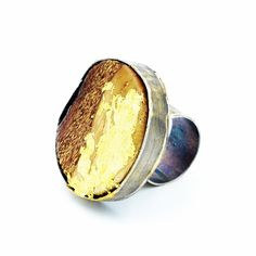 Sterling silver ring, set with hand cur and lacquered White Oak and 24k Gold leaf