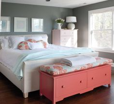 gray white and coral bedroom decor ideas - with lighter gray walls and some navy blue accents added