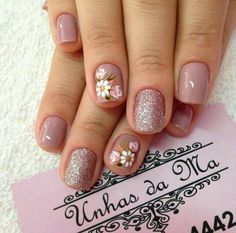 Nail art is a very popular trend these days and every woman you meet seems to have beautiful nails. It used to be that women would just go get a manicure or pedicure to get their nails trimmed and shaped with just a few coats of plain nail polish. Cute Nail Art Designs, Pedicure Designs, Pedicure Ideas, Fingernail Designs, Floral Nail Art, Wedding Nails Design, Pink Wedding Nails, Wedding Manicure, Glitter Wedding