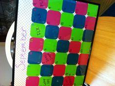 My paint chip dry-erase calendar. Paint Chip Art, Paint Chips, Dry Erase Calendar, Craft Projects, Craft Ideas, Martha Stewart, Diy Art, Helpful Hints, Cube