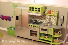 DIY Play Kitchen {It's the same color palate as our Teaching Kitchen and we love it!}