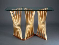 Parabola Hall Table: Seth Rolland: Wood & Glass Hall Table - Artful Home
