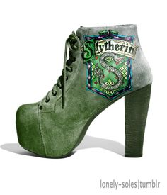 Most popular tags for this image include: harry potter, slytherin, green, shoes and boots Mode Harry Potter, Harry Potter Shoes, Slytherin Harry Potter, Harry Potter Style, Slytherin Pride, Harry Potter Outfits, Hogwarts, Ravenclaw, High Heel Boots