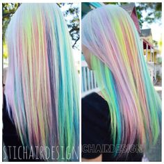 By vividartistichairdesign on Instagram / pastel rainbow hair blonde pink orange yellow green blue purple