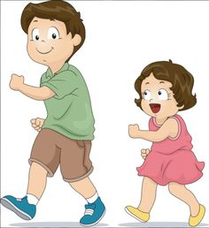 Picture of Illustration of a Little Girl Copying the Way Her Elder Brother Walks stock photo, images and stock photography.