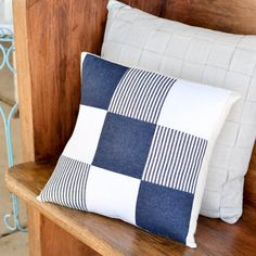 Repurpose old jeans into a quilted denim pillow cover that's easy to remove with an envelope back.