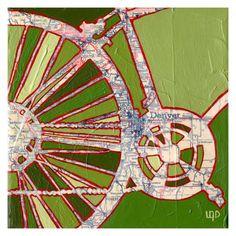 Bike Denver Map Archival printlarge print13x13 by OffTheMapArt, $25.00
