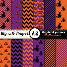Halloween - digital papier - 12 feuilles - sorcières, citrouille, rayures, chevron