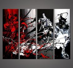 Original abstract art paintings by Osnat - black white and red modern painting #abstractart #OilPaintingBlackAndWhite