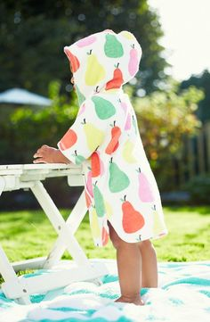 Mini Boden 'Towelling' Poncho (Baby Girls)