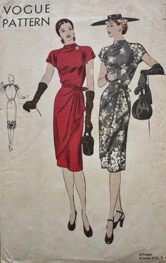 Vintage Vogue Draped Dress Surplice Wrap Skirt Sewing Pattern *FF* Evening Dress Patterns, Vogue Dress Patterns, Vintage Vogue Patterns, Skirt Patterns Sewing, Skirt Sewing, Vintage Sewing, 1940s Fashion, Fashion Sewing, Timeless Fashion