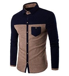 YUNY Men Button-Down-Shirts Tops Corduroy Fall//Winter Dress Shirts Three L