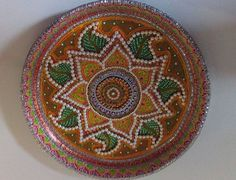 Green decorated thali indian festival decor pinterest for Aarti thali decoration with clay