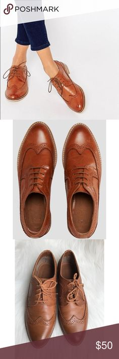 ASOS MAI Cognac Leather Brogues Oxfords Women's ASOS 'MAI' Cognac Leather Brogues Lace Up Oxfords. UK size 5 which ASOS size chart says 7 but these fit more like 7.5. Textile lining. Low block heel. Wing tip detail. Great pre-owned condition - these were worn only a few times, soles show minimal signs of wear, clean inside with little bit of pilling, upper has some marks typical for leather of this color. ASOS Shoes Flats & Loafers