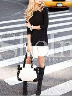 Kleid Rundhals mit weißem Saum - schwarz 12.60