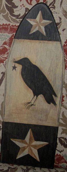 Primitive HP Folk Art Prim Crow Barn Star Stretcher | eBay