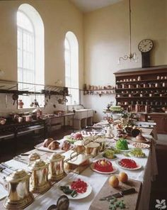 kitchens at Petworth House..in Petworth, West Sussex, England, is a late 17th-century mansion, rebuilt in 1688 by Charles Seymour, 6th Duke of Somerset, &  altered in the 1870s by Anthony Salvin.