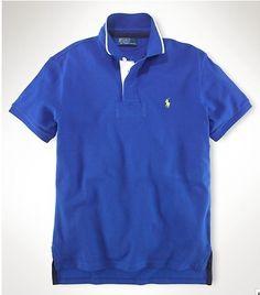 Ralph Lauren Custom-Fit Tipped-Collar Polo Shirt In Blue   #polo shirts
