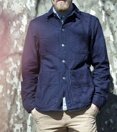 Freemans Sporting Club - Denim Chore Jacket - Double faced, indigo dyed denim from Kuroki mills. Nickel-free hardware and quilted pockets. The two patch pockets have top and side entry. (Made in the USA)