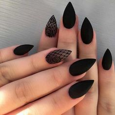 Cute Stiletto Nails With Matte Accents. If you are a passionate lover of a matte finish, have a look at these matte and cute stiletto nails. Excellent Black Stiletto Nail Art Designs for Girls and Women # Elegant Nail Designs, Black Nail Designs, Elegant Nails, Stiletto Nail Designs, Pointed Nail Designs, Goth Nails, My Nails, Goth Nail Art, Dark Nail Art