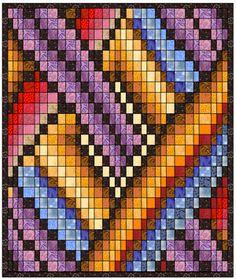 Bargello Quilt Patterns, Bargello Quilts, Broderie Bargello, Plastic Canvas Patterns, Crochet Crafts, Machine Quilting, Paper Piecing, Quilting Designs, Quilt Blocks