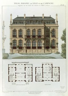 French Drawing - Parisian Suburban House And Plans by Leon Isabey. Parisian suburban house and plans, from 'Villas, Town and Country Houses Based on the Modern Houses of Paris', Architecture Antique, Architecture Design, Classic Architecture, Architecture Drawings, Suburban House, Vintage House Plans, House Drawing, House Sketch, House Layouts