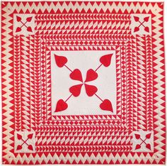 Red and white quilt by Eleanor Dugan: Sashing Stash collection | Riley Blake Designs Blog.  The fabric has printed triangles.