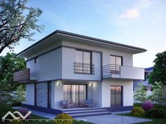 Model casa 195 Architectural Design House Plans, Design Case, Little Houses, Home Fashion, Modern Architecture, My House, Sweet Home, House Design, Mansions