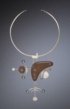 Kristin Mitsu Shiga - Astro Neckpiece (Sterling silver, walnut)