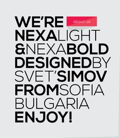 Nexa Light/Bold Une typo moderne, sans sherif, très parlante et graphique, une des typo préférée du blog ! #typo #typography #typographie #nexa #graphism #font