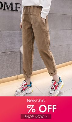 Corduroy Solid Color Patchwork Elastic Waist Casual Pants is necessary for cold weather, NewChic will show cheap trendy women Pants & Capris for you. Trousers Women Outfit, Pants Outfit, Pants For Women, Clothes For Women, Neutral, Loose Pants, Printed Pants, Trouser Pants, Fashion Pants