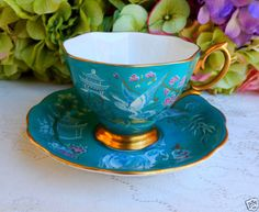 Vintage Royal Albert Bone China Cup & Saucer-Turquoise Oriental Gold