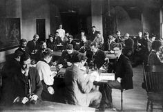 Students hard at work in the microscope lab back in 1905.